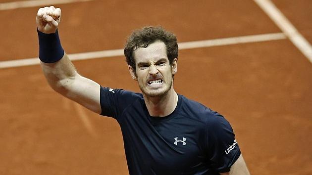 Andy Murray celebra un punto en al final de la Copa Davis.