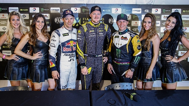 Robin Larsson, Mattias Ekström y Petter Solberg, el podio final de Argentina