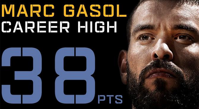 El mejor Marc Gasol jamás visto: 38 puntazos a los Pelicans