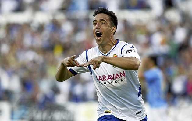 Pedro celebra un gol con el Real Zaragoza. / TONI GALÁN