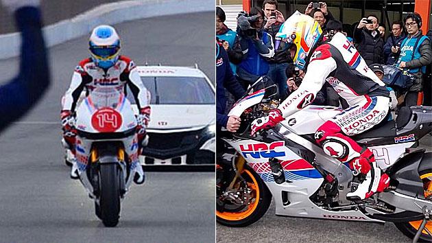 Fernando Alonso prueba una Honda de MotoGP