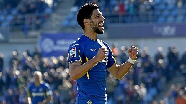 Lafita celebra un gol ante el Villarreal. Foto: José A. García (MARCA).