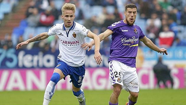 Sergio Gil, durante el partido del Zaragoza ante el Valladolid en La Romareda
