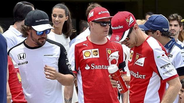Alonso, Vettel y Raikkonen en el Gran Premio de Brasil (RV RACING PRESS)