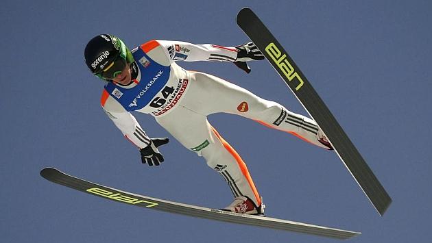 Peter Prevc, durante la Copa del Mundo celebrada la semana pasada en Lillehammer.