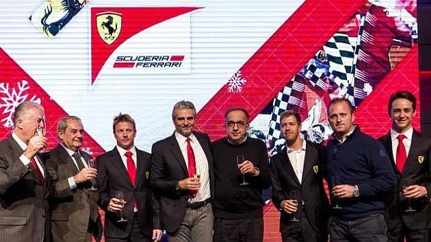 Marchionne y Arrivabene brindan con Vettel y Raikkonen en la cena de Navidad de Ferrari.