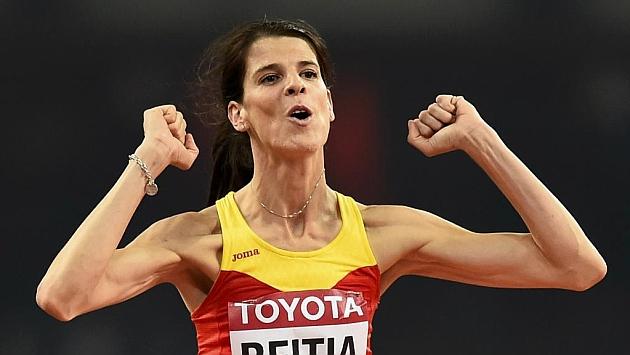 Ruth Baitia tras un salto durante una prueba esta temporada.