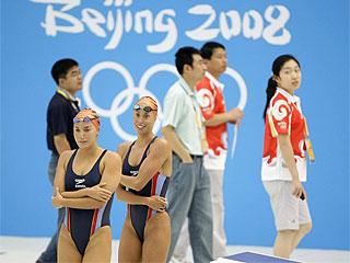 Las chicas de la sincronizada vuelven a Pek�n (AFP)