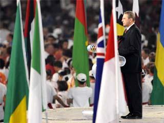 Rogge, en la ceremonia de clausura de los Juegos de Pek�n (Foto: AFP)