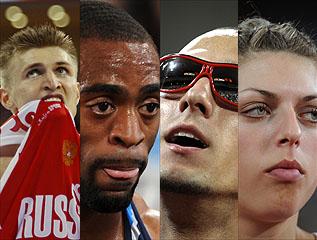 Kirilenko, Tyson Gay, Jeremy Wariner y Blanka Vlasic (AFP y Reuters)
