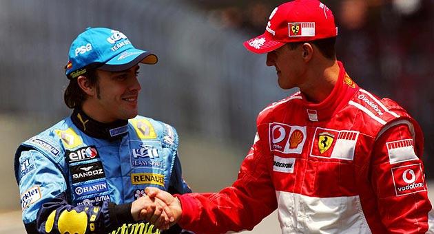 MARCA. Alonso y Schumacher se saludan.