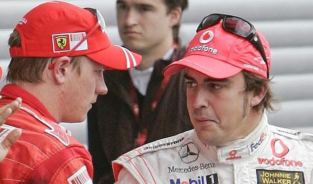 MARCA. Raikkonen y Alonso se felicitan en una imagen de 2007.