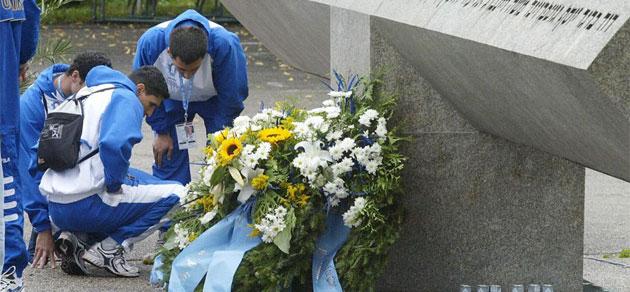 Deportistas israel�es homenajean a los fallecidos en M�nich '72.