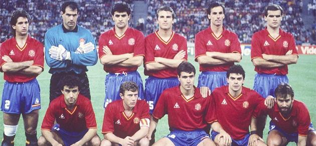 La selecci�n espa�ola de f�tbol en el Mundial de Italia '90. FOTO: MARCA.