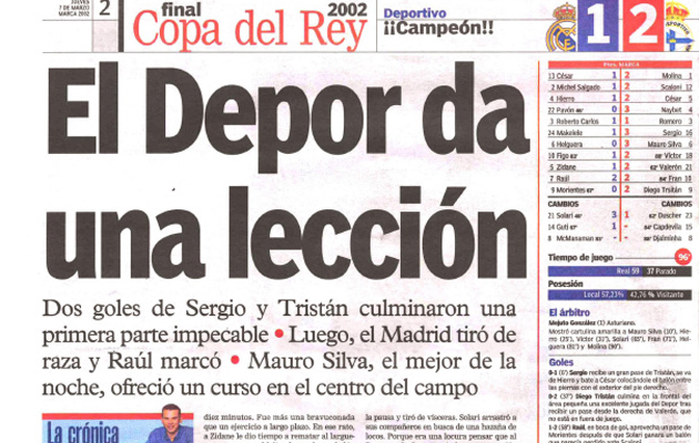 Cr�nica de la final de la Copa del Rey 2002 en el diario MARCA.