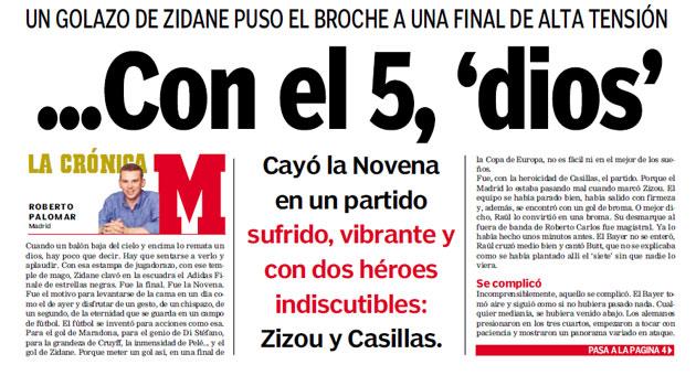Cr�nica del diario MARCA tras el triunfo del Real Madrid en la final de Champions 01/02.