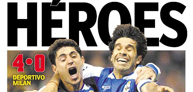 Portada del diario MARCA tras la clasificacaci�n del Deportivo a las semifinales de Champions.