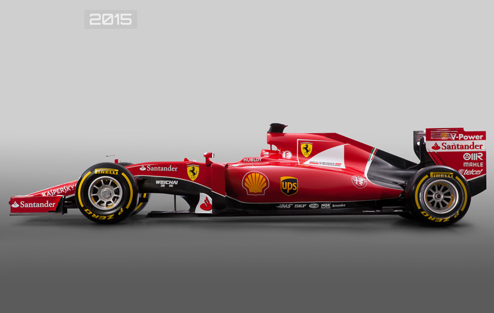 Vista de perfil del Ferrari SF15-T de 2015