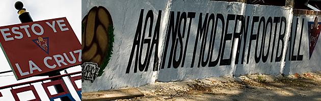 Cartel de bienvenida y mural contra el fútbol moderno en el estadio de La Cruz / ucceares.com