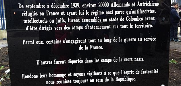 Placa en rcuerdo de los alemanes y austriacos deportados desde Colombes