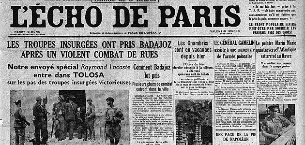 Edici�n de L'Echo de Paris en la que con una foto suya se da por segura la muerte de Zamora citando a Platko.
