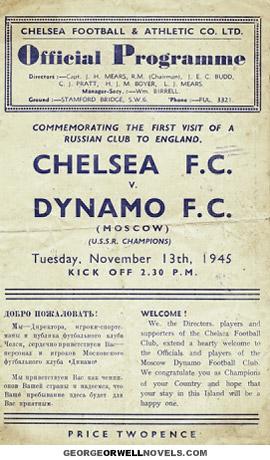 PROGRAMA DEL CHELSEA-DINAMO DE KIEV DEL 13-11-1945