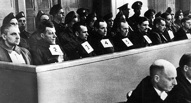 Imagen del juicio en Hamburgo a los responsables del campo de Neungamme (fuente KZ-Gedenkst�tte Neuengamme).