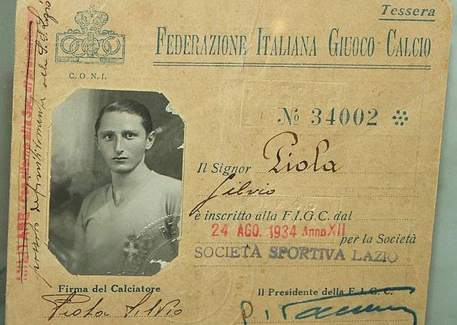 La primera ficha de Piola con la Lazio