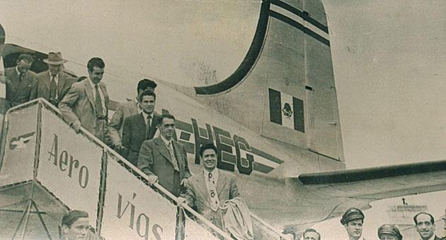La selecci�n espa�ola a su llegada de M�xico en 1950