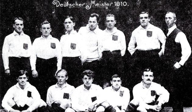 El Karlsruher FV, campe�n de Alemania en 1910.
